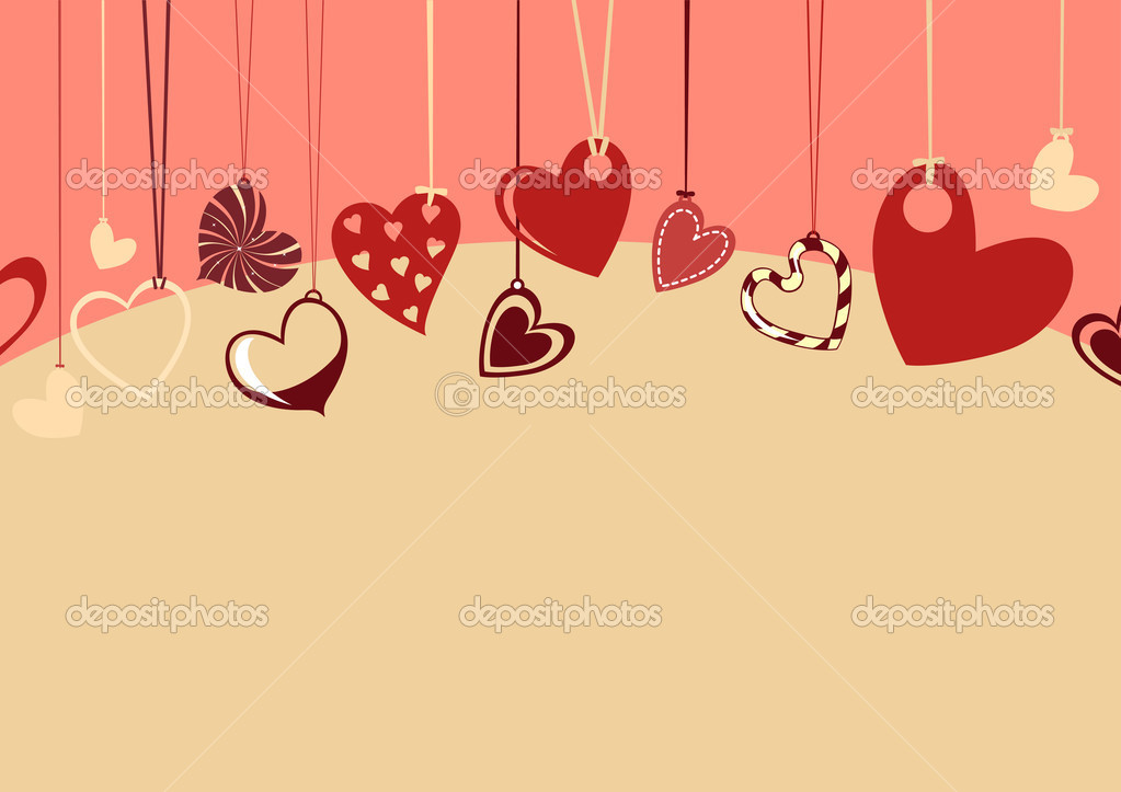 Vector illustration of Valentine's Day background, decorated with beautifull hearts. — Vektorgrafik #12221878