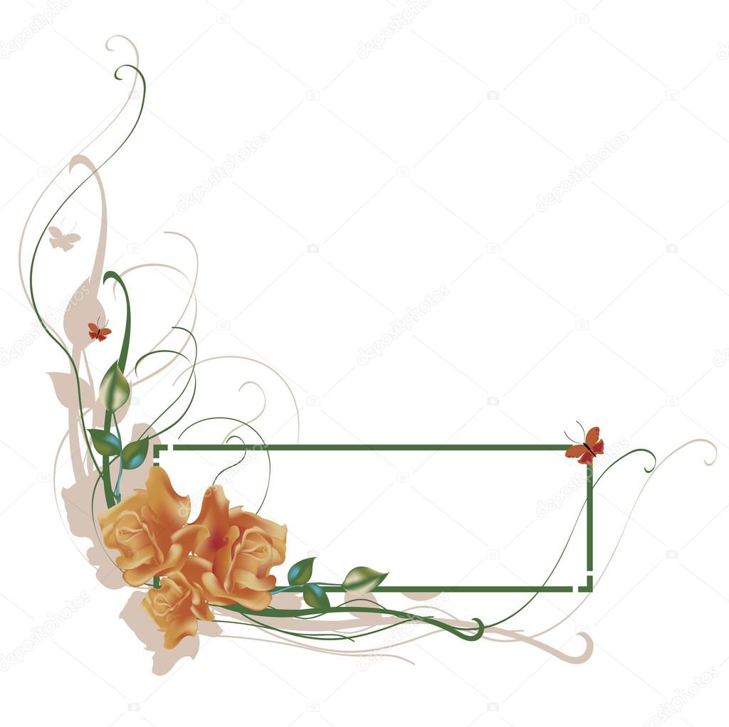 Vector illustraition of elegant floral frame with beautiful roses — Stok Vektör #12223053