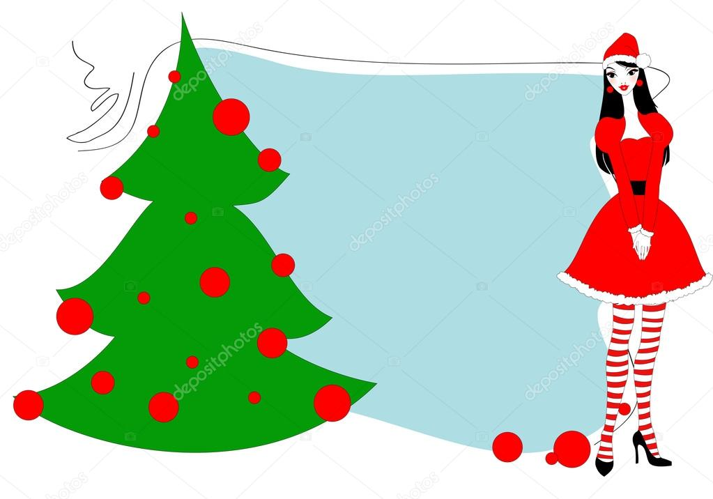 Vector Illustration of funky Christmas gteeeting card with beautiful sexy girl — Stock Vector #12223483