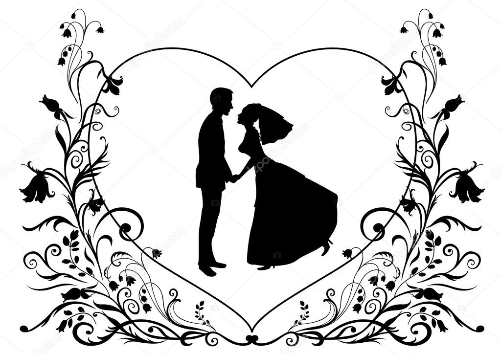 черно белая картинка жениха и невесты