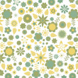Green and yellow flowers and leaves retro pattern — Stock Vector