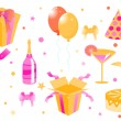 Funny birthday icons — 图库矢量图片