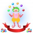 Clown juggling colorful balls — Stock Vector