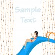 Stock Vector: Girl on waterslide