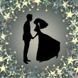 Beautiful bride and groom on the funky background — Imagen vectorial