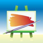 Płótno zarządu i kolor pędzla — Wektor stockowy