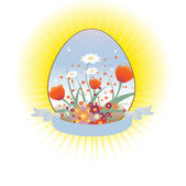 Loral background decorated with Easter Egg shape — Stock Vector