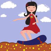 Girl riding skateboard — Stock Vector