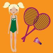 Little girl and badminton rackets — Stock Vector