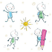 Vector Illustration of cartoon little schoolboy — Stock Vector