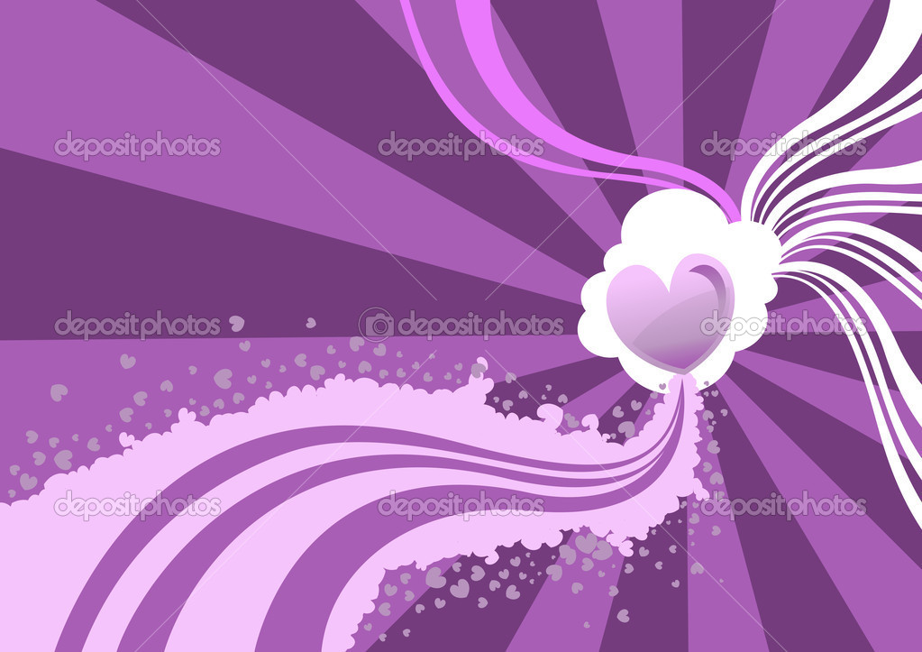Vector illustration of Flirty background  of stylized hearts and waves  Stock Vector #12417136