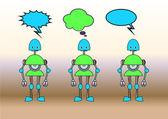 Grappige robots ingericht met strips bubbels — Stockvector