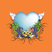 Floral frame with heart shape — Stock Vector