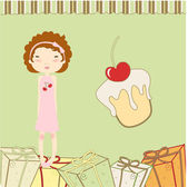 Funny little girl with present boxes — Stock Vector
