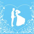 Bride and groom on the elegant background — Stock Vector