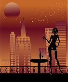 Flicka i staden — Stockvektor