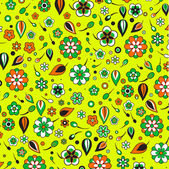 Funky flowers and leaves retro pattern — Stock Vector