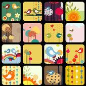 Retro Flowery design greeting cards — Stock Vector