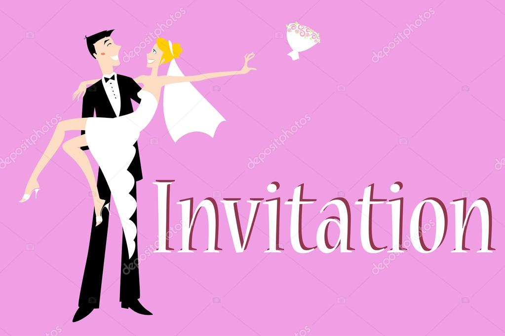 Vector illustration of funky wedding invitation with cool sexy bride and groom — Stock Vector #14466075