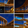 Collage night city bridges - Stock Photo