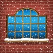 Large window and snow — Stock Vector