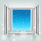 Open window and falling snow — Stock Vector