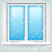 Window and snow — Stock Vector