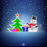 Christmas dark snow blue card — Stock Vector