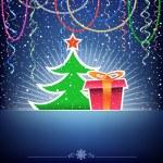 Christmas tree and gift card — Stock Vector