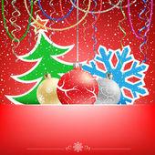 рождественская красная карточка снег ленты и безделушка — Cтоковый вектор