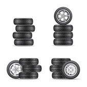 Set of tires for cars — Vector de stock
