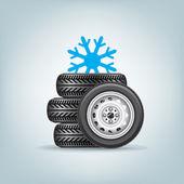 Set of winter wheels — Stock Vector