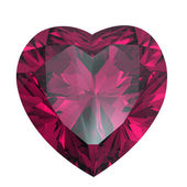 Heart shaped Diamond isolated.Ruby — Stock Photo