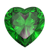 Heart shaped Diamond isolated. emerald — Stockfoto