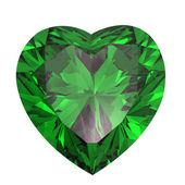 Heart shaped Diamond isolated. emerald — Stock Photo