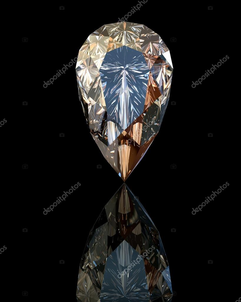 Jewelry gems on black background. Pear.  Stock Photo #17363881