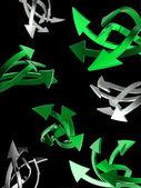Set of green arrows on black — Stock Photo