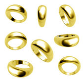 Collection of gold wedding rings isolated — Stock Photo