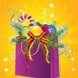 Card with Christmas gift bag — Stock Vector #37844305