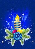 Christmas ball, candle and pine — Stock Vector