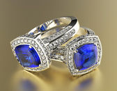 Rings with blue diamonds — Stock Photo