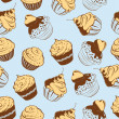 Stock Vector: Cupcakes Seamless Pattern