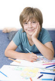 Little boy draw with crayons — Stock Photo