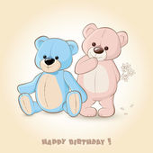 Birthday Card with Teddy Bears — Stock Vector