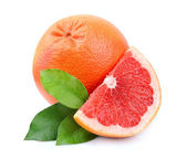 Grapefruit with leaves — 图库照片