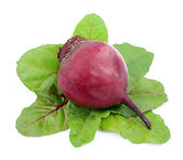 Red beets with swiss chard leafs — Stock Photo