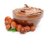 Hazelnut cream with hazelnut nuts — Stock Photo