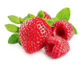 Red strawberries and raspberries — Stock Photo
