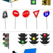Stock Vector: Set of traffic lights. Red signal. Yellow signal. Green signal