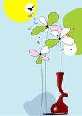 Blommig sommar bakgrund. vektor illustration — Stockvektor